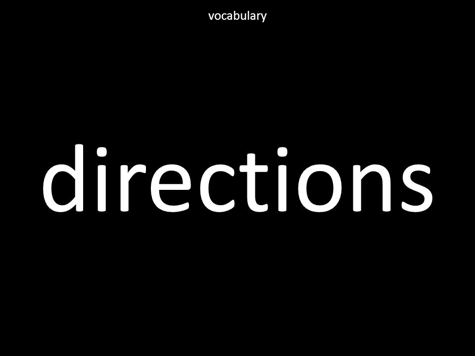 directions vocabulary