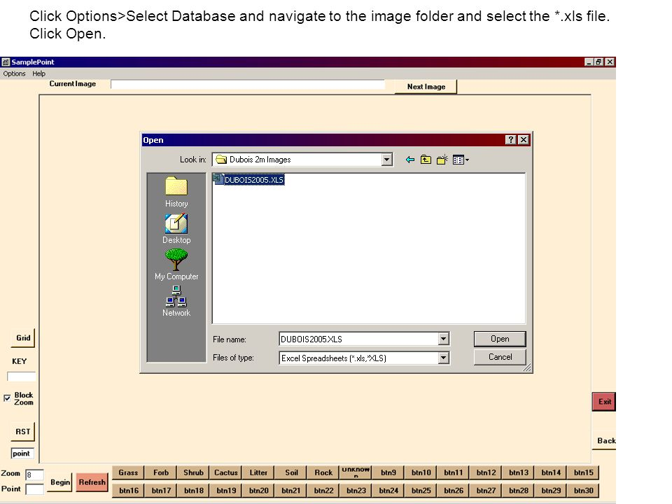 Click Options>Select Database and navigate to the image folder and select the *.xls file. Click Open.