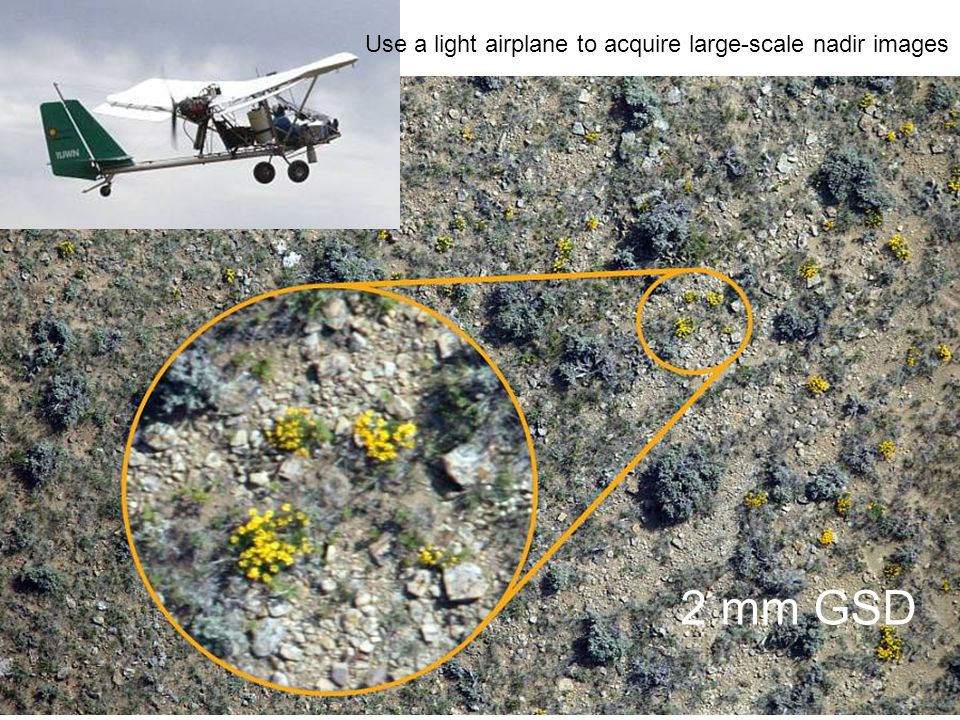 2 mm GSD Use a light airplane to acquire large-scale nadir images