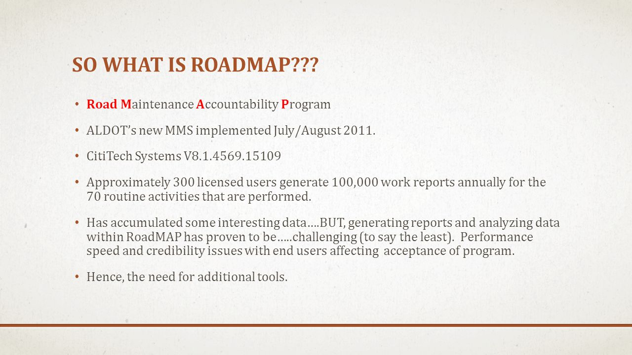 SO WHAT IS ROADMAP??.
