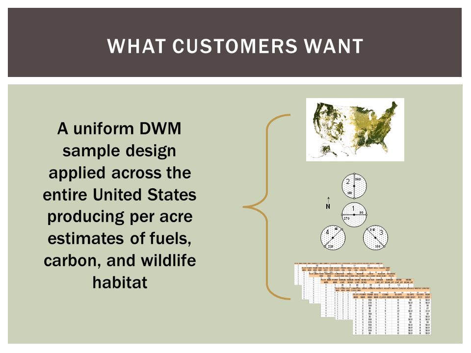 WHAT CUSTOMERS WANT A uniform DWM sample design applied across the entire United States producing per acre estimates of fuels, carbon, and wildlife habitat
