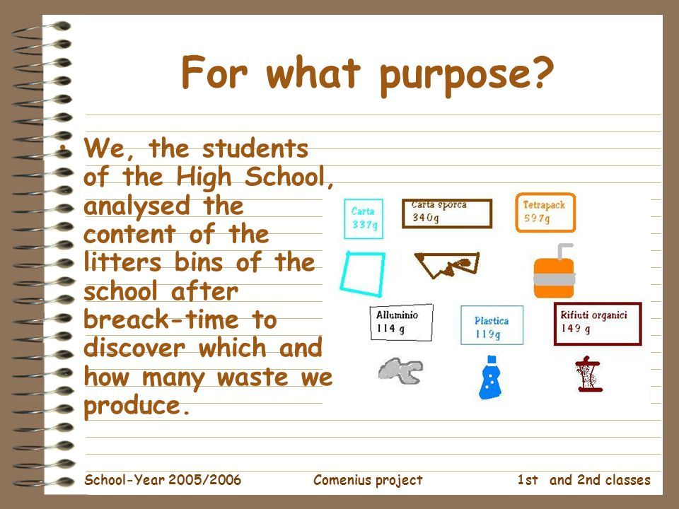 1st and 2nd classes School-Year 2005/2006Comenius project For what purpose.