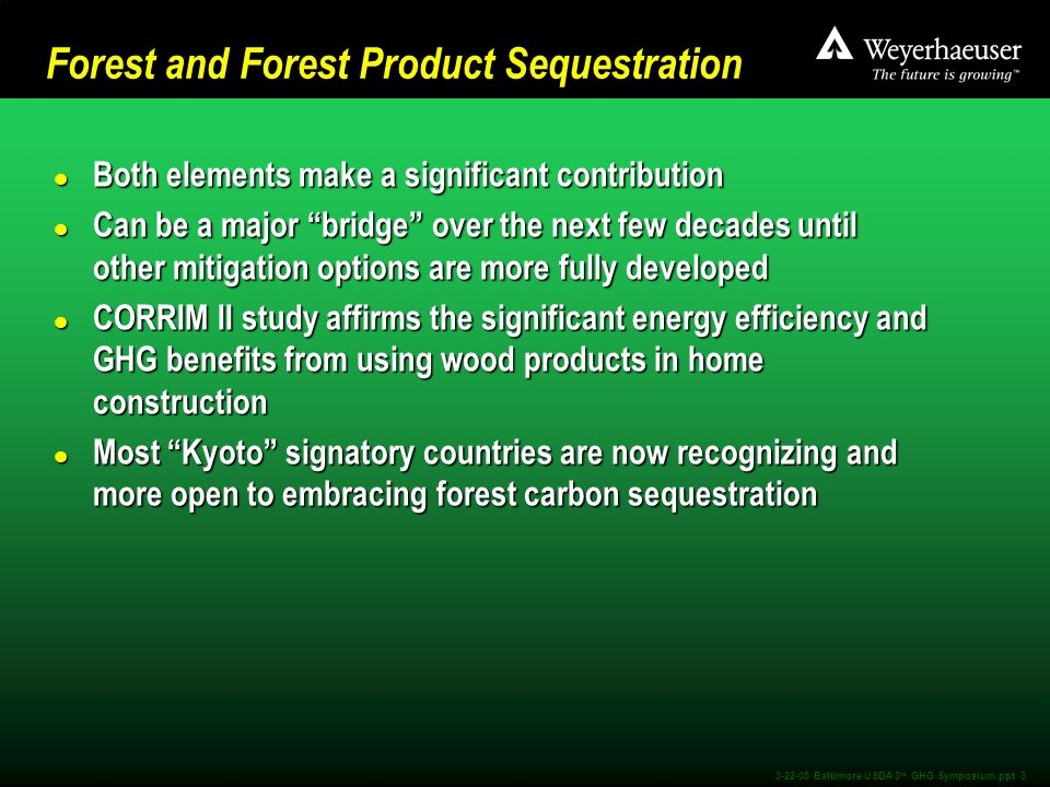 3-22-05 Baltimore USDA 3 rd GHG Symposium.ppt 3 Forest and Forest Product Sequestration l Both elements make a significant contribution l Can be a major bridge over the next few decades until other mitigation options are more fully developed l CORRIM II study affirms the significant energy efficiency and GHG benefits from using wood products in home construction l Most Kyoto signatory countries are now recognizing and more open to embracing forest carbon sequestration