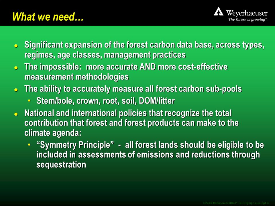3-22-05 Baltimore USDA 3 rd GHG Symposium.ppt 6 What we need… l Significant expansion of the forest carbon data base, across types, regimes, age classes, management practices l The impossible: more accurate AND more cost-effective measurement methodologies l The ability to accurately measure all forest carbon sub-pools Stem/bole, crown, root, soil, DOM/litter Stem/bole, crown, root, soil, DOM/litter l National and international policies that recognize the total contribution that forest and forest products can make to the climate agenda: Symmetry Principle - all forest lands should be eligible to be included in assessments of emissions and reductions through sequestration Symmetry Principle - all forest lands should be eligible to be included in assessments of emissions and reductions through sequestration