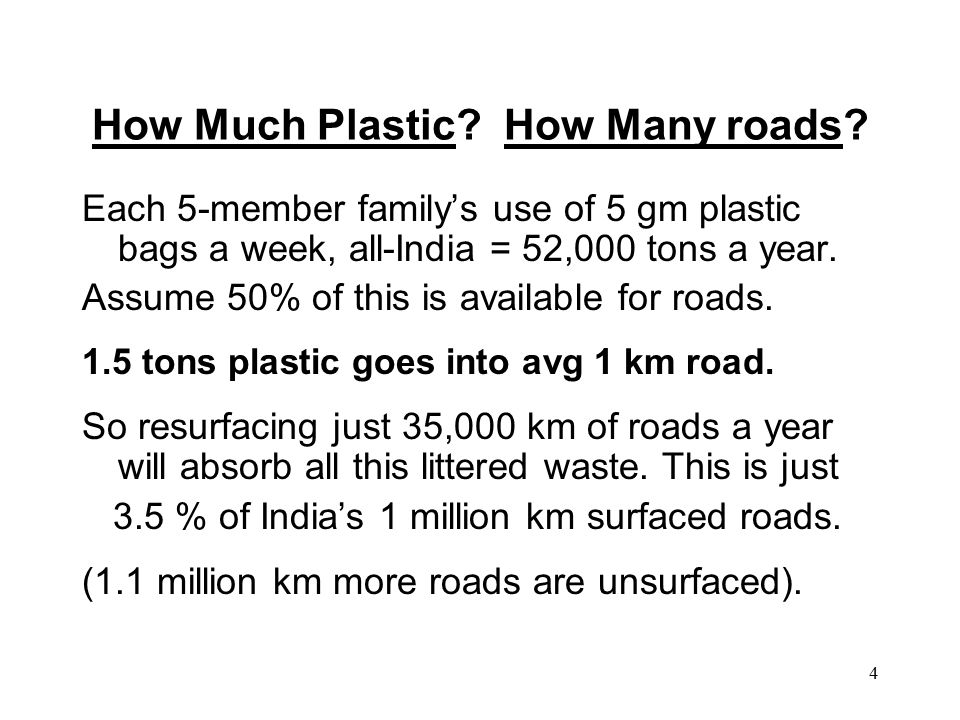 4 How Much Plastic. How Many roads.