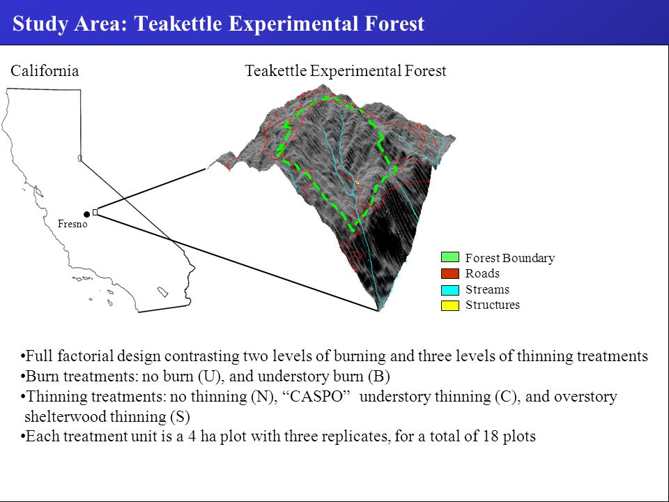 Study Area: Teakettle Experimental Forest Fresno California Teakettle Experimental Forest Forest Boundary Roads Streams Structures Full factorial design contrasting two levels of burning and three levels of thinning treatments Burn treatments: no burn (U), and understory burn (B) Thinning treatments: no thinning (N), CASPO understory thinning (C), and overstory shelterwood thinning (S) Each treatment unit is a 4 ha plot with three replicates, for a total of 18 plots