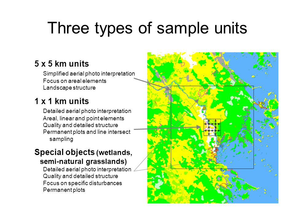 Three types of sample units 5 x 5 km units Simplified aerial photo interpretation Focus on areal elements Landscape structure 1 x 1 km units Detailed aerial photo interpretation Areal, linear and point elements Quality and detailed structure Permanent plots and line intersect sampling Special objects (wetlands, semi-natural grasslands) Detailed aerial photo interpretation Quality and detailed structure Focus on specific disturbances Permanent plots