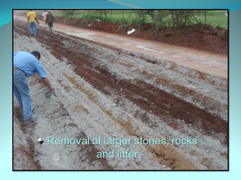 Removal of larger stones, rocks and litter