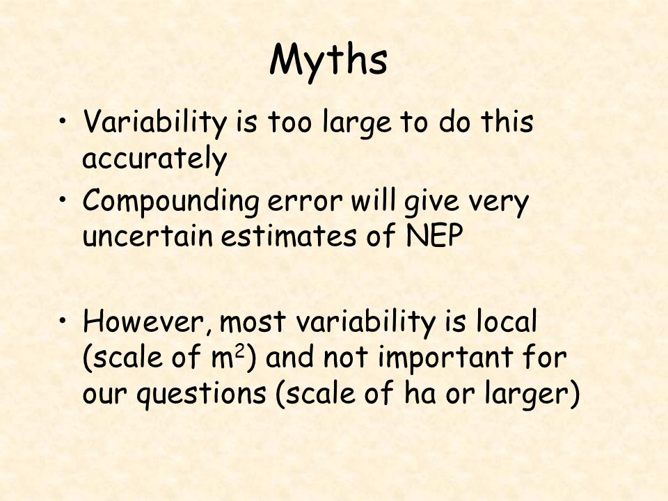Myths Variability is too large to do this accurately Compounding error will give very uncertain estimates of NEP However, most variability is local (s
