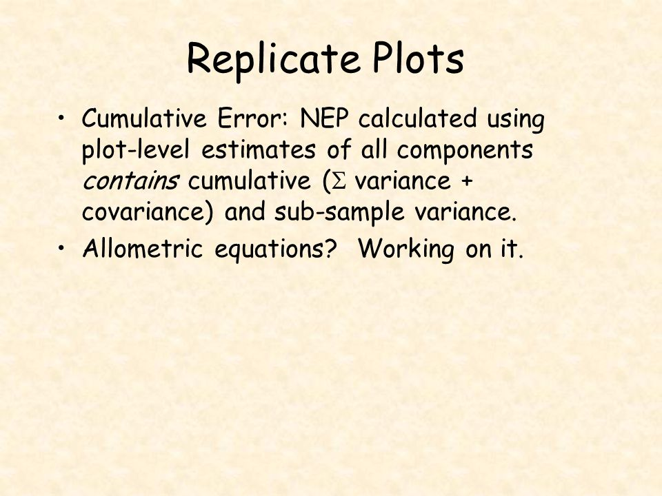 Replicate Plots Cumulative Error: NEP calculated using plot-level estimates of all components contains cumulative (  variance + covariance) and sub-s
