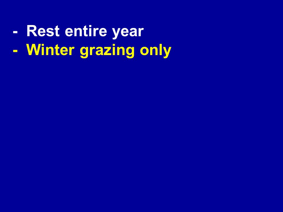 - Winter grazing only