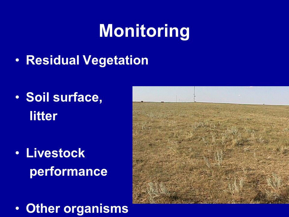 Monitoring Residual Vegetation Soil surface, litter Livestock performance Other organisms