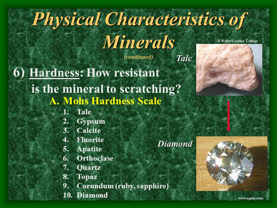 Physical Characteristics of Minerals Physical Characteristics of Minerals (continued) 3) Magnetism: is the mineral magnetic.