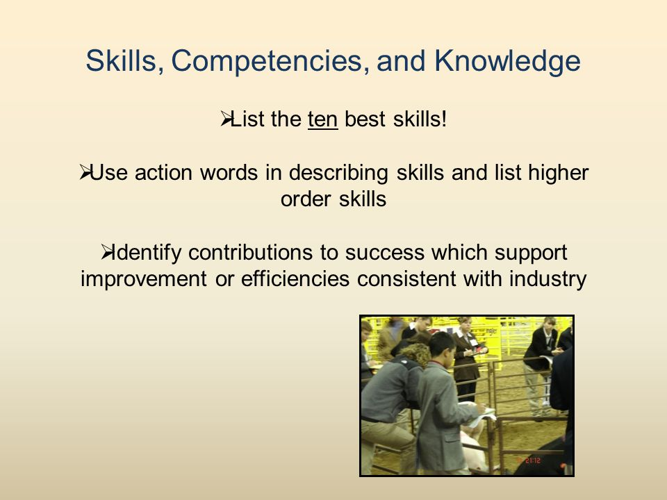 Skills, Competencies, and Knowledge  List the ten best skills.