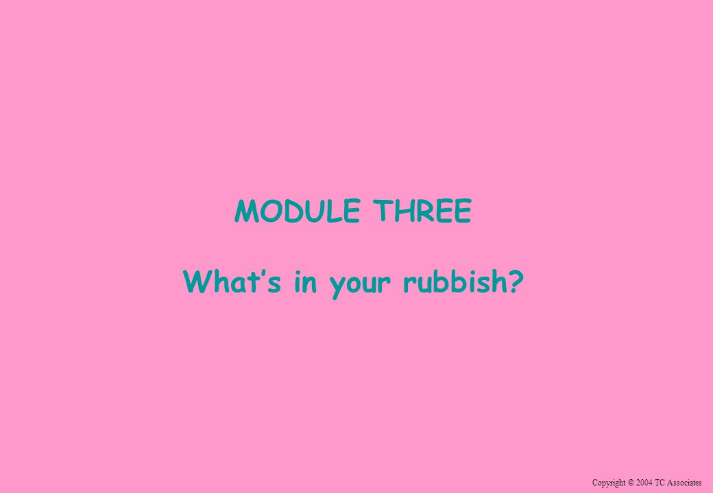 Copyright © 2004 TC Associates MODULE THREE What's in your rubbish?