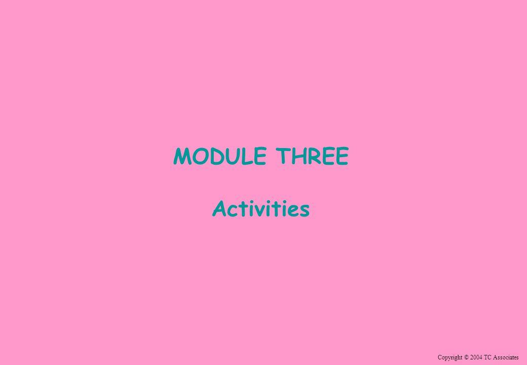 Copyright © 2004 TC Associates MODULE THREE Activities