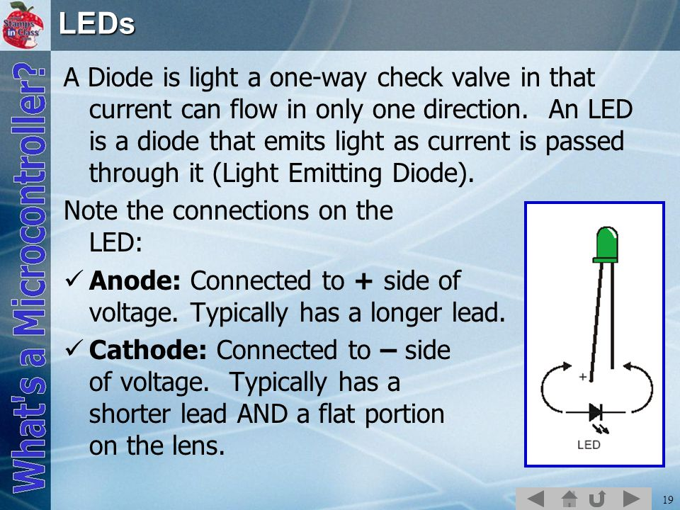 19LEDs A Diode is light a one-way check valve in that current can flow in only one direction.