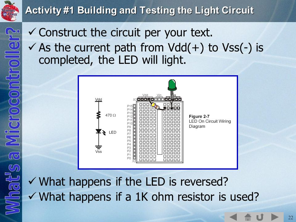 22 Activity #1 Building and Testing the Light Circuit Construct the circuit per your text.