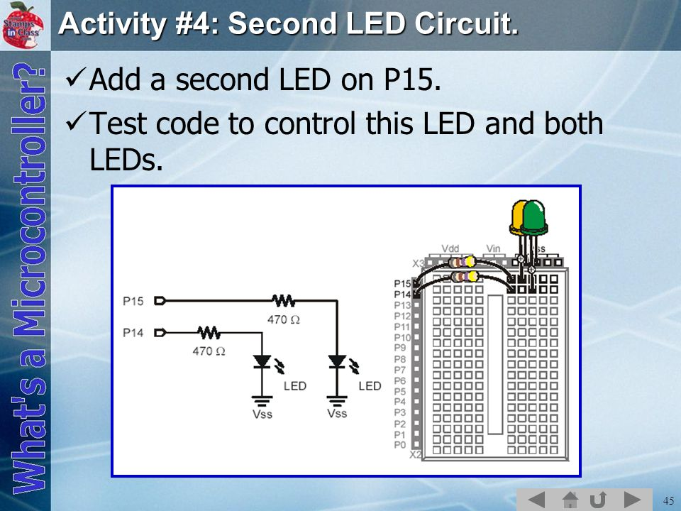45 Activity #4: Second LED Circuit.Add a second LED on P15.