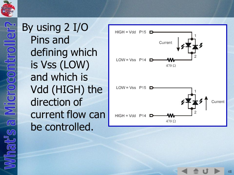 48 By using 2 I/O Pins and defining which is Vss (LOW) and which is Vdd (HIGH) the direction of current flow can be controlled.
