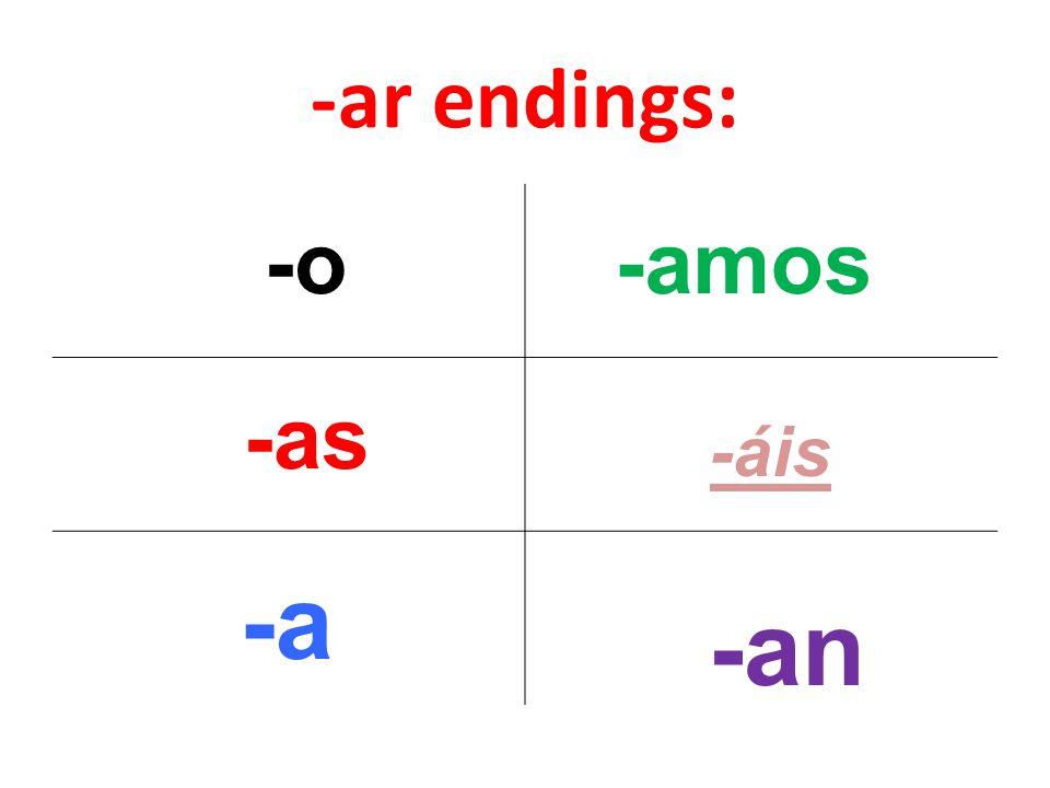 -ar endings: -o -as -a -amos -áis -an