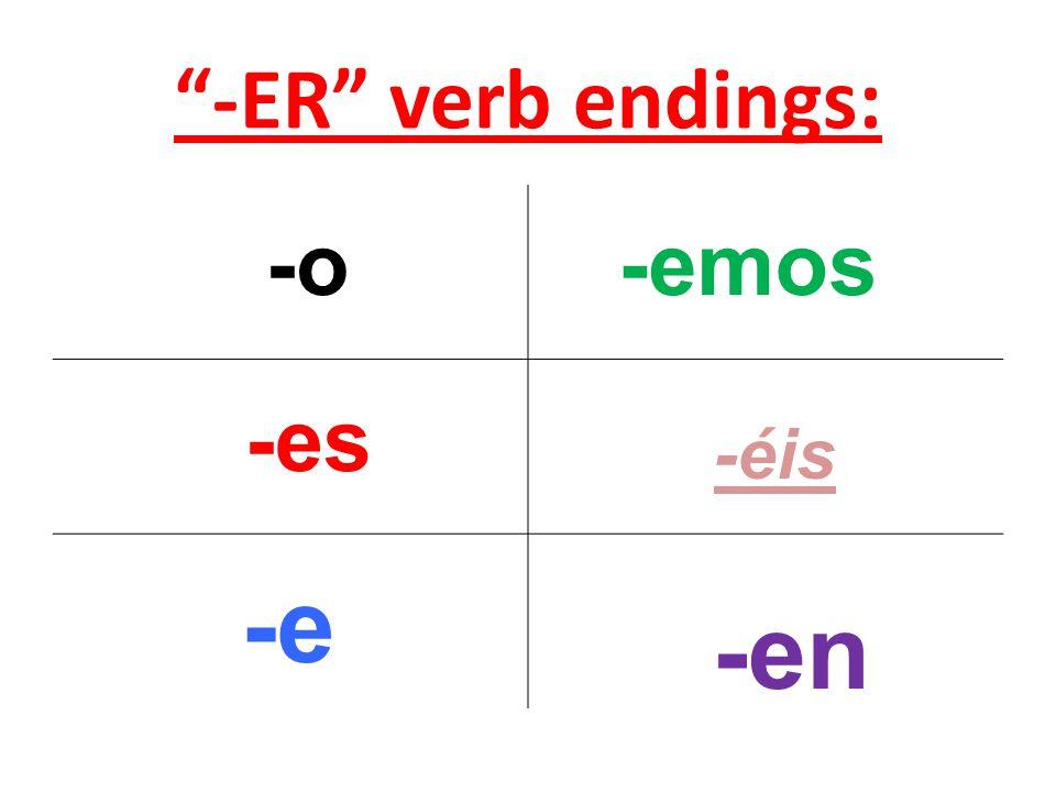 -ER verb endings: -o -es -e -emos -éis -en