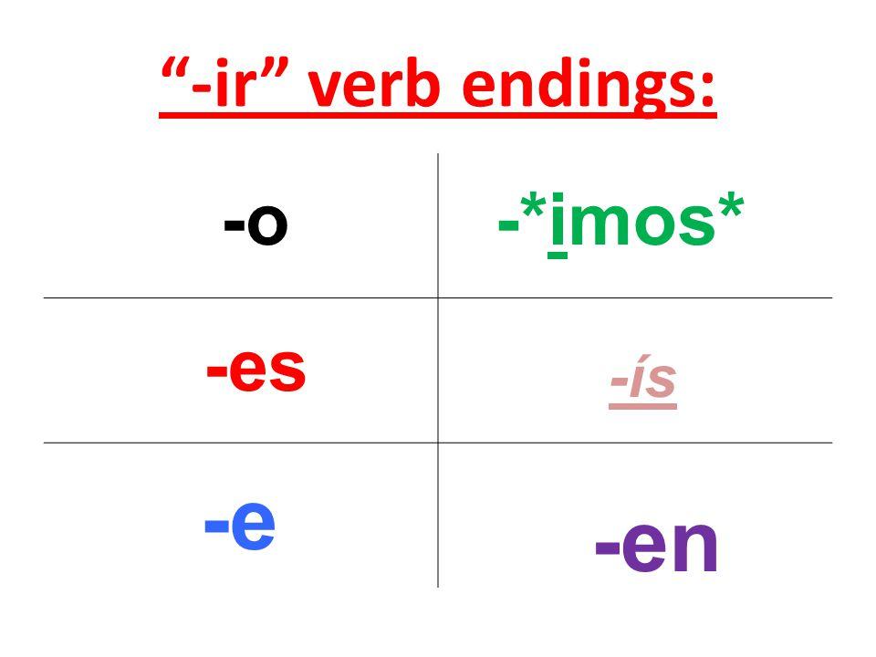 -ir verb endings: -o -es -e -*imos* -ís -en