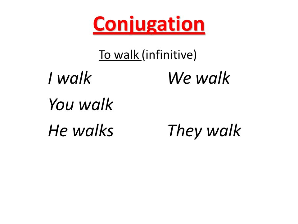 Conjugation To walk (infinitive) I walk We walk You walk He walksThey walk