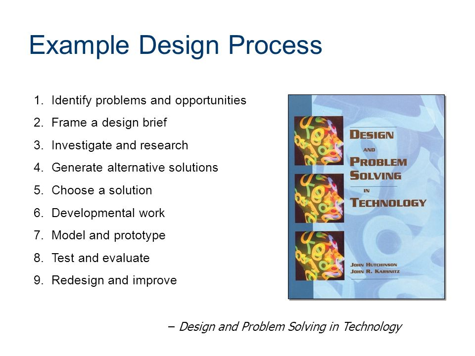 1.Identify problems and opportunities 2.Frame a design brief 3.Investigate and research 4.Generate alternative solutions 5.Choose a solution 6.Developmental work 7.Model and prototype 8.Test and evaluate 9.Redesign and improve – Design and Problem Solving in Technology Example Design Process
