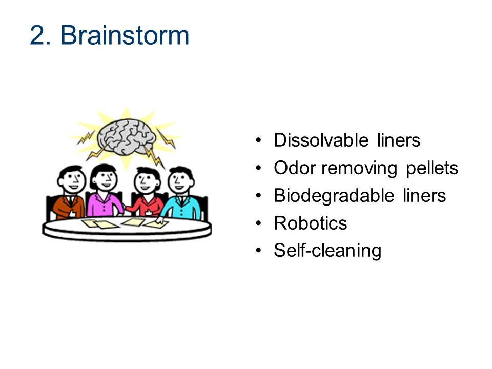 2. Brainstorm Dissolvable liners Odor removing pellets Biodegradable liners Robotics Self-cleaning