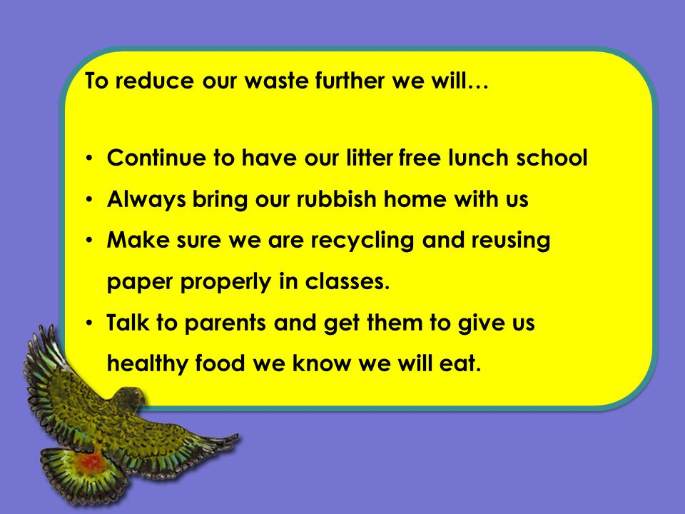 To reduce our waste further we will… Continue to have our litter free lunch school Always bring our rubbish home with us Make sure we are recycling and reusing paper properly in classes.