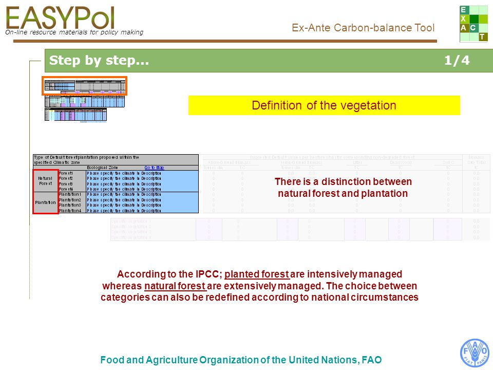 On-line resource materials for policy making Ex-Ante Carbon-balance Tool Food and Agriculture Organization of the United Nations, FAO Step by step...1/4 Definition of the vegetation By default, the adoption of practices is considered as linear.
