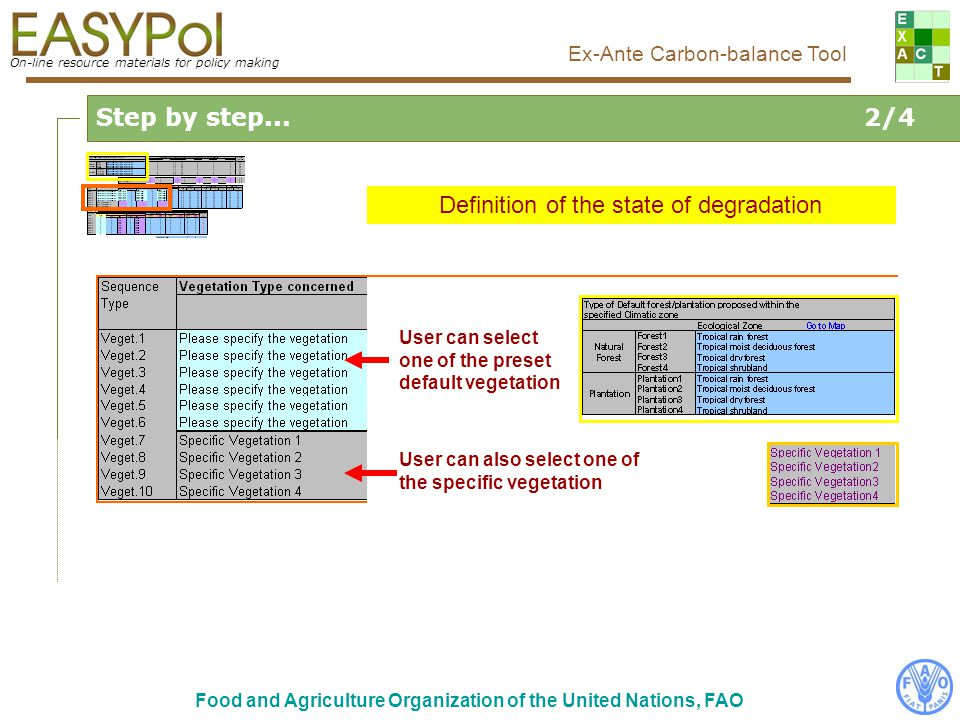 On-line resource materials for policy making Ex-Ante Carbon-balance Tool Food and Agriculture Organization of the United Nations, FAO Step by step...2/4 Definition of the state of degradation User can select one of the preset default vegetation User can also select one of the specific vegetation