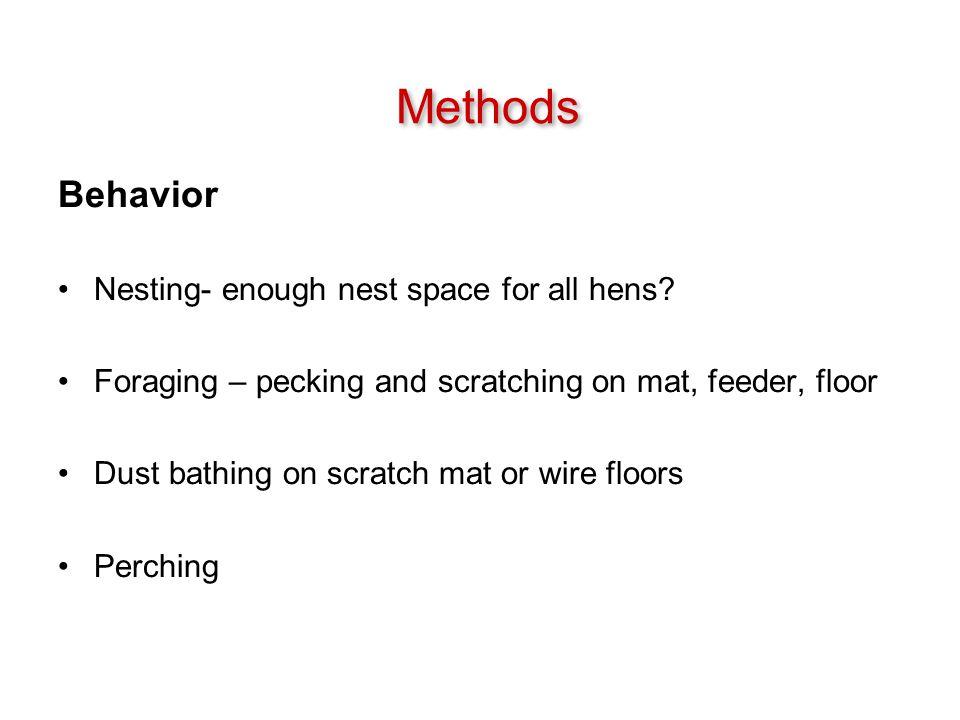 Behavior Nesting- enough nest space for all hens.