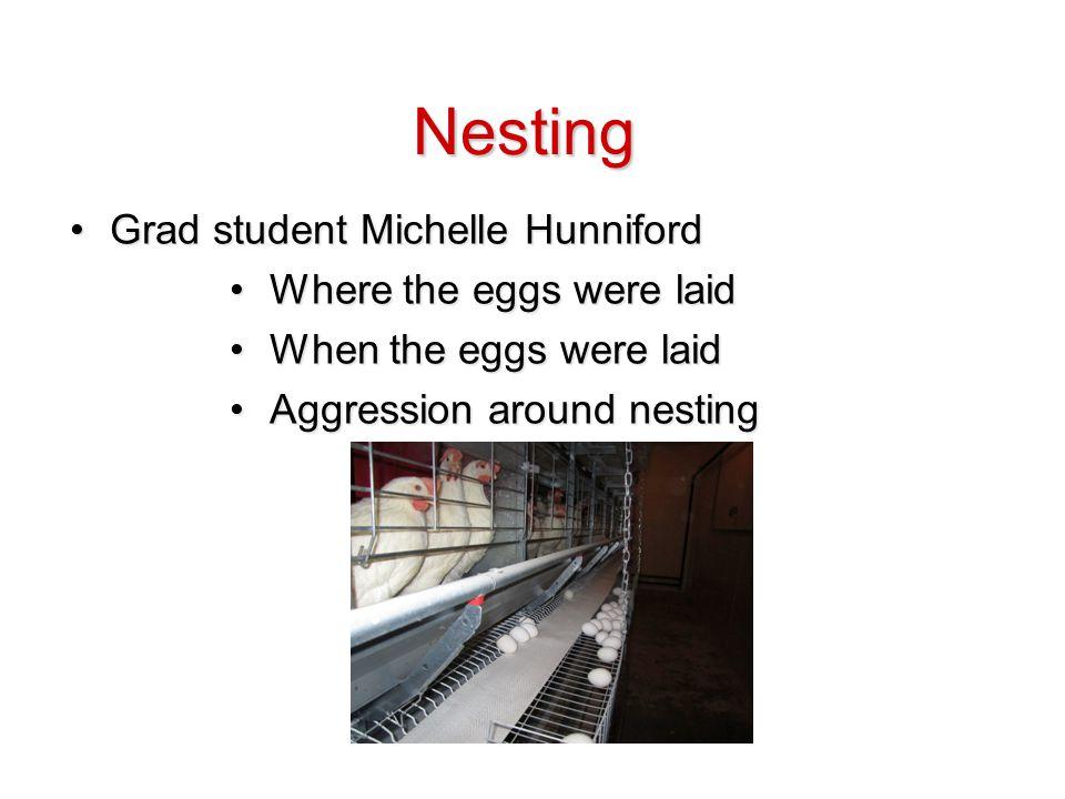 Grad student Michelle HunnifordGrad student Michelle Hunniford Where the eggs were laidWhere the eggs were laid When the eggs were laidWhen the eggs were laid Aggression around nestingAggression around nesting Nesting