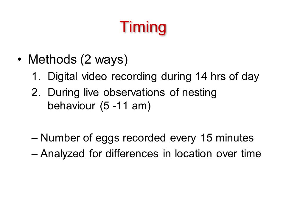 Timing Methods (2 ways) 1.Digital video recording during 14 hrs of day 2.During live observations of nesting behaviour (5 -11 am) –Number of eggs recorded every 15 minutes –Analyzed for differences in location over time