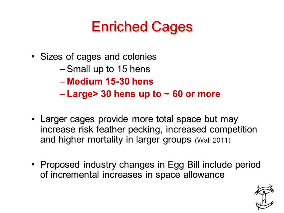 Enriched Cages Sizes of cages and coloniesSizes of cages and colonies –Small up to 15 hens –Medium 15-30 hens –Large> 30 hens up to ~ 60 or more Larger cages provide more total space but may increase risk feather pecking, increased competition and higher mortality in larger groups (Wall 2011)Larger cages provide more total space but may increase risk feather pecking, increased competition and higher mortality in larger groups (Wall 2011) Proposed industry changes in Egg Bill include period of incremental increases in space allowanceProposed industry changes in Egg Bill include period of incremental increases in space allowance