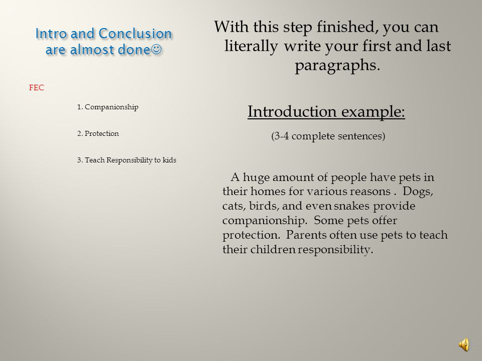 Intro and Conclusion are almost done Intro and Conclusion are almost done FEC 1.