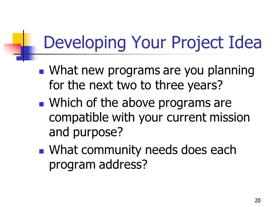 21 Developing Your Project Idea Is the service already being provided by another agency.