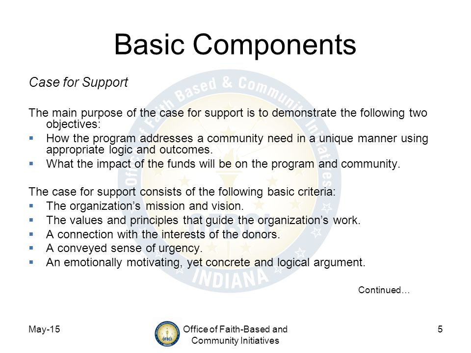 May-15Office of Faith-Based and Community Initiatives 5 Basic Components Case for Support The main purpose of the case for support is to demonstrate the following two objectives:  How the program addresses a community need in a unique manner using appropriate logic and outcomes.