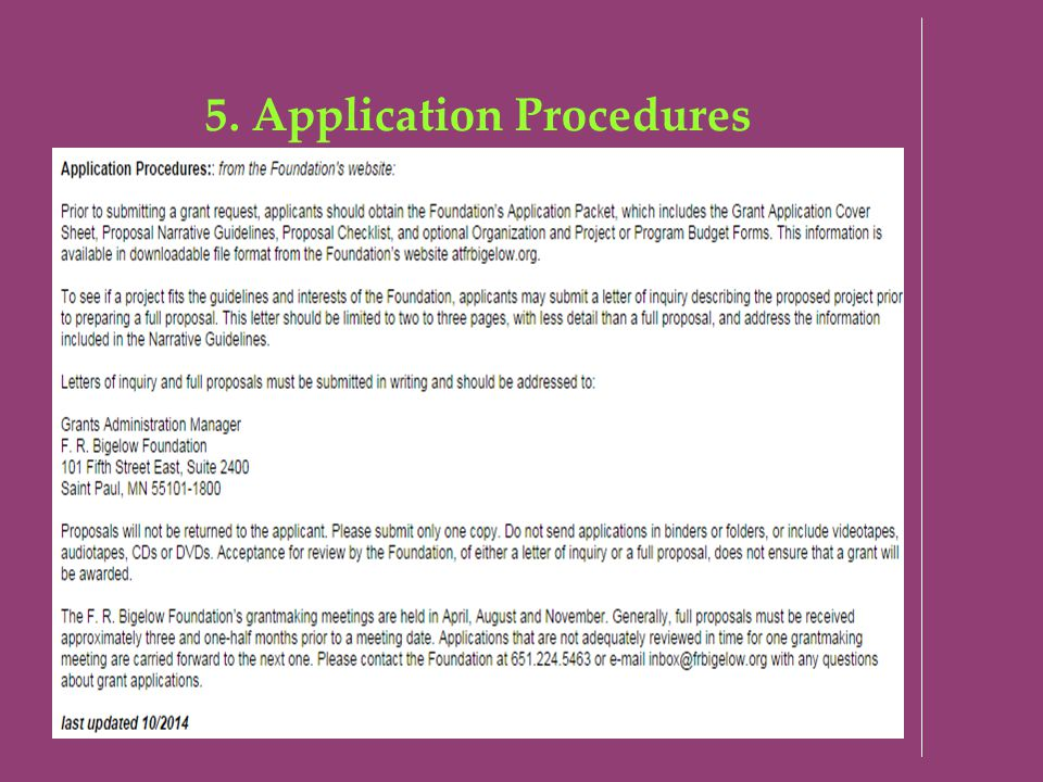 5. Application Procedures