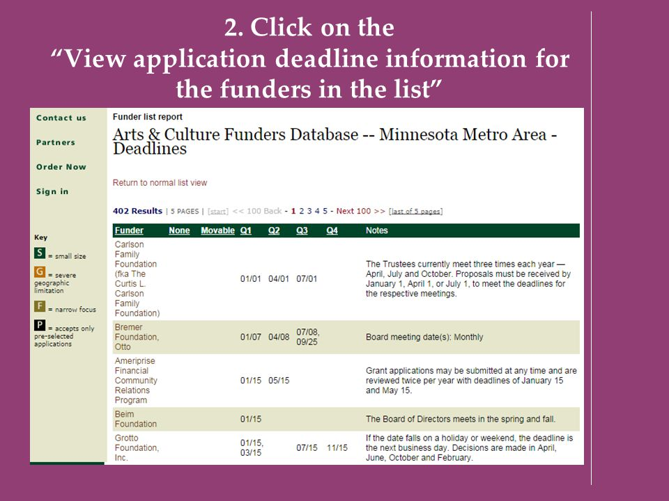"2. Click on the ""View application deadline information for the funders in the list"""