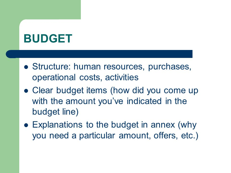 BUDGET Structure: human resources, purchases, operational costs, activities Clear budget items (how did you come up with the amount you've indicated in the budget line) Explanations to the budget in annex (why you need a particular amount, offers, etc.)