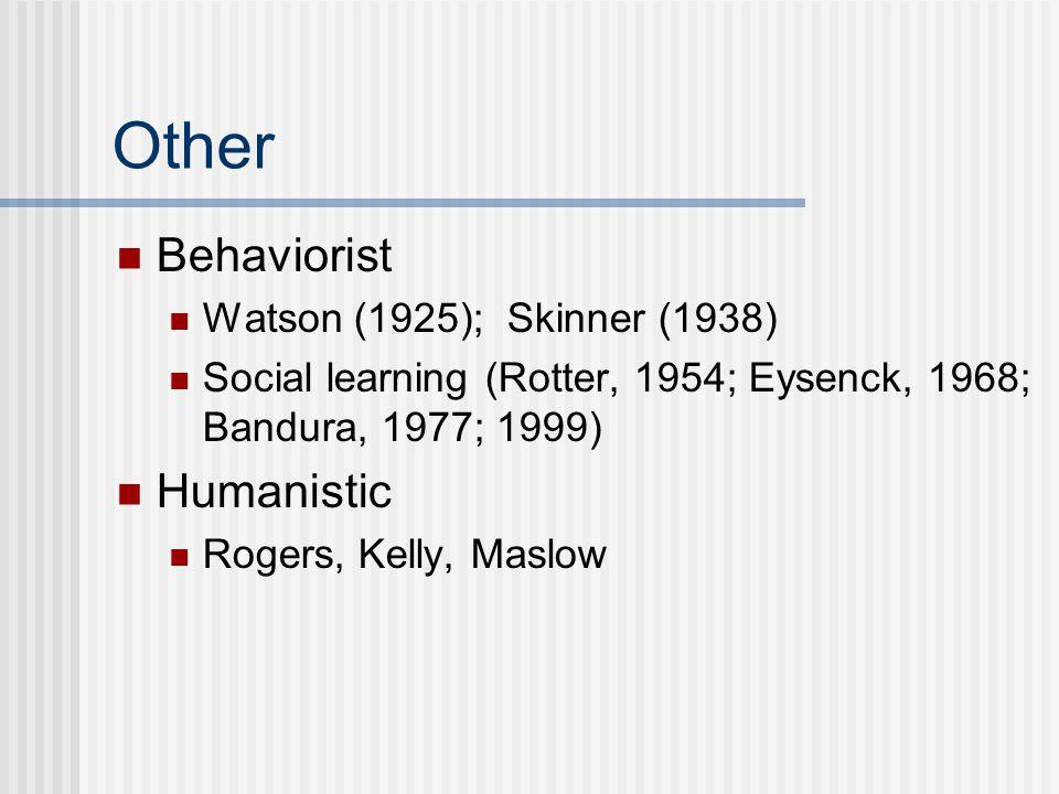 Other Behaviorist Watson (1925); Skinner (1938) Social learning (Rotter, 1954; Eysenck, 1968; Bandura, 1977; 1999) Humanistic Rogers, Kelly, Maslow