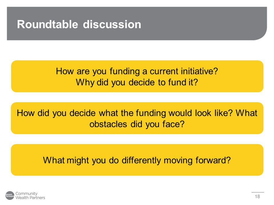 Roundtable discussion 18 How are you funding a current initiative? Why did you decide to fund it? How did you decide what the funding would look like?
