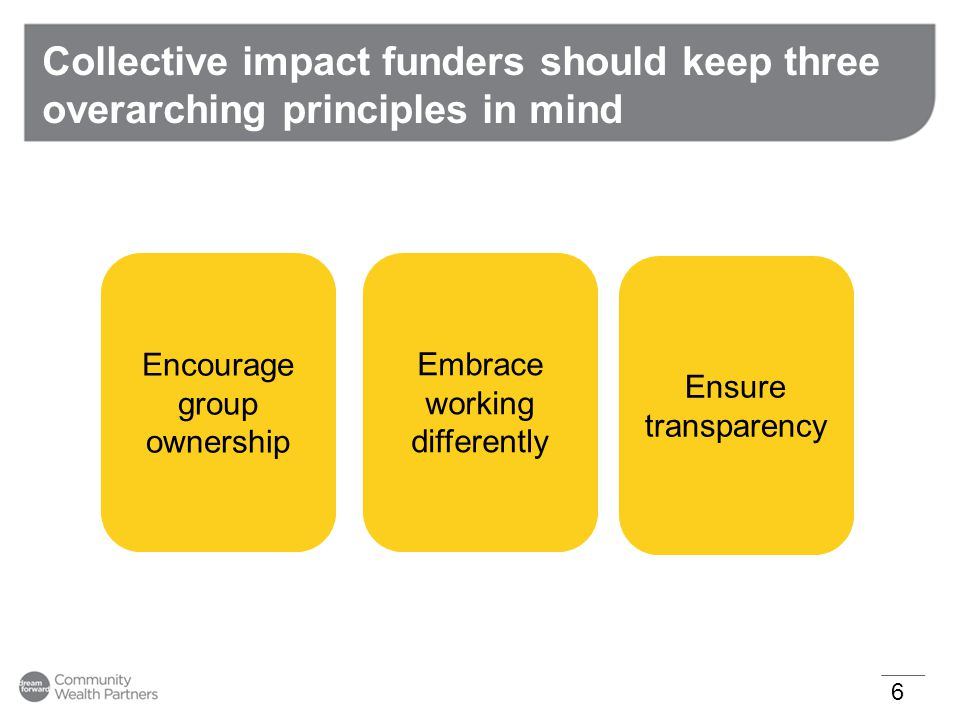 Summary of Major Guiding Principles 17 Encourage group ownership Embrace flexibility Ensure transparency Guiding Principle: The most effective collective impact funding is multi- year with a long- term commitment Guiding Principle: Funders should not fund organizations outside of the initiative for topics covered by the initiative