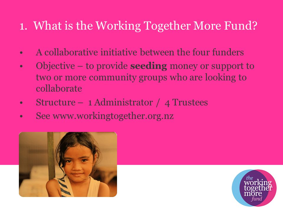 1. What is the Working Together More Fund.