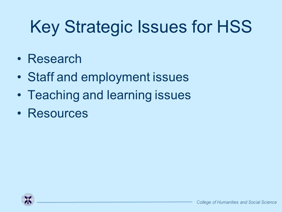 Key Strategic Issues for HSS Research Staff and employment issues Teaching and learning issues Resources College of Humanities and Social Science