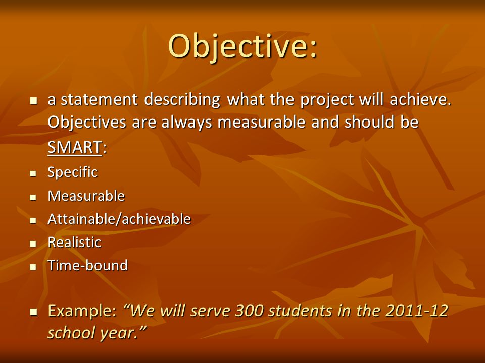 Objective: a statement describing what the project will achieve.