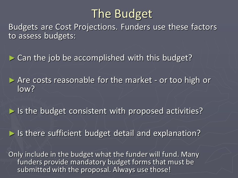 The Budget Budgets are Cost Projections.